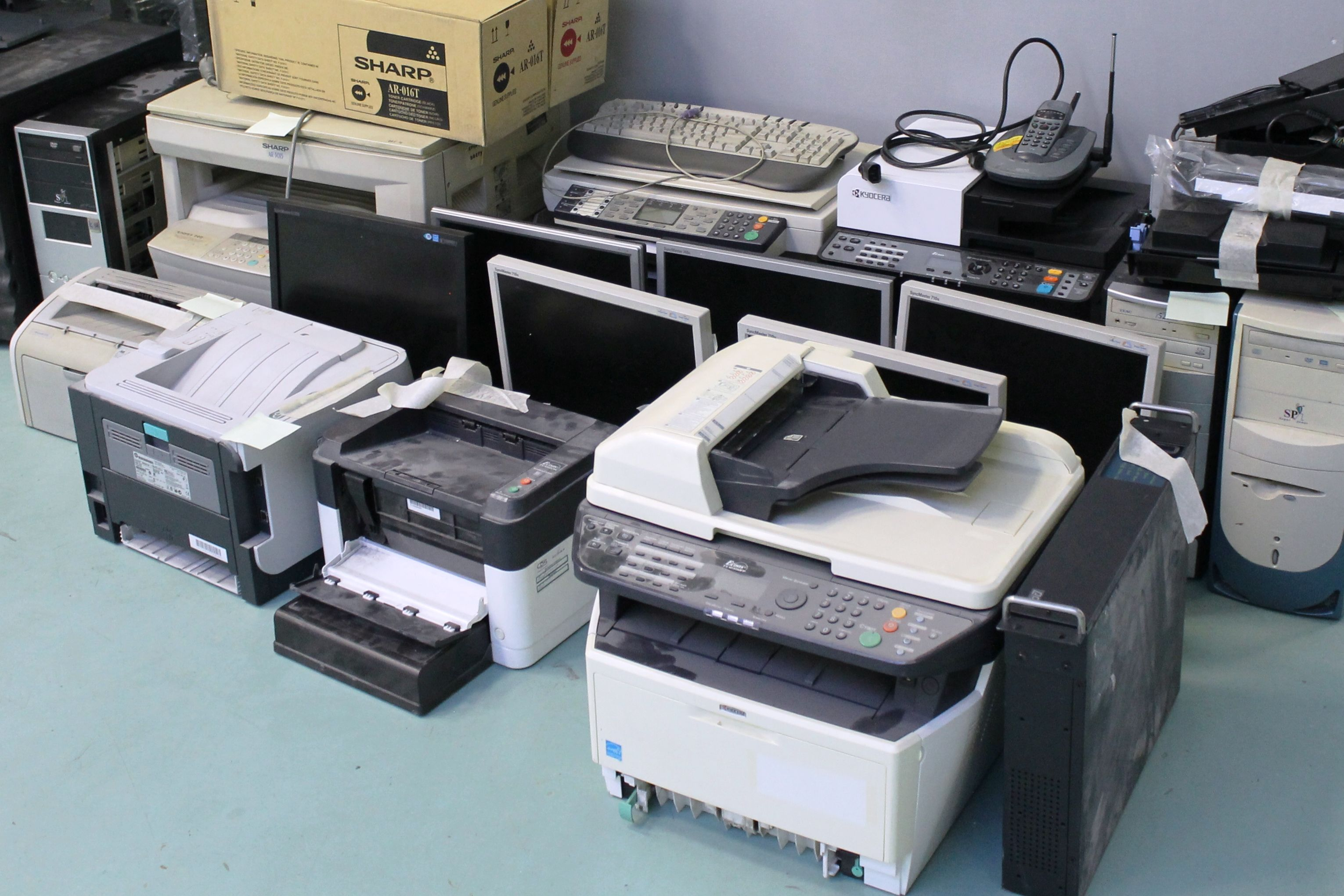 Office equipment prepared for recycling